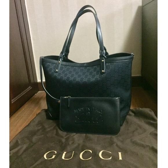 4432d4265 Gucci Handbags - Gucci | Craft Medium Tote in Black Canvas + Clutch